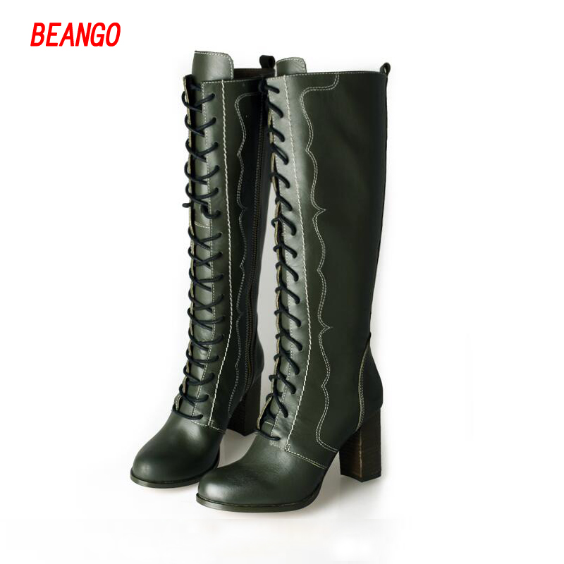 BEANGO women winter boots thick high heel shoes woman fashion front cross tied lace up round toe knee high leather martin boot enmayla winter autumn round toe low heel knee high boots women flats lace up shoes woman rider brown black suede motorcycle boot