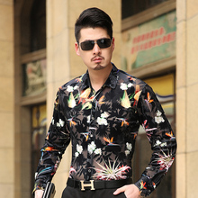 new type 2016 Males's Vogue Floral stitching shirt top quality informal long-sleeve shirt Native tyrants gold S-3XL Gown MT16017