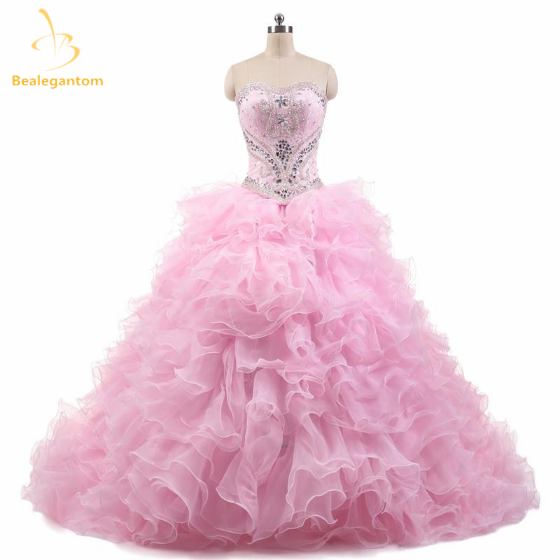 Bealegantom luxury 2018 sexy light pink puffy quinceanera dresses ball gown  with beaded prom debutante sweet 16 dresses qa926 01ee7b40035f