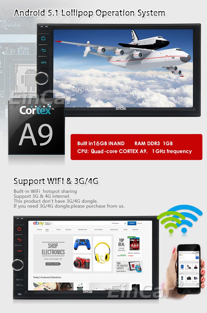 Clearance 2Din Head Unit Android 5.1.1 GPS radio Car Stereo Auto Radio Audio 1080P Video Player Wifi FM Steering Wheel Control+rear Camera 2