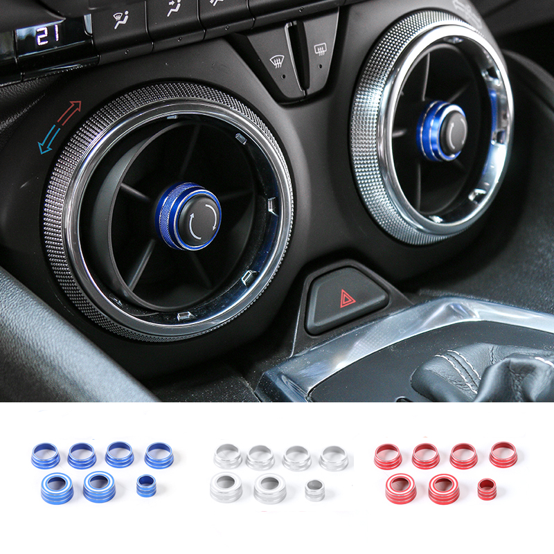 MOPAI Car Dashboard Knob Panel Air Vent Adjust Button Decoration Cover for Chevrolet Camaro 2017 Up