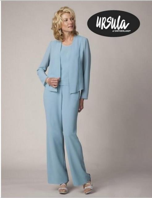 2016 Ursula Vistoso Pant Set 11220 Mãe dos vestidos de Noiva Terno de calça Chiffon Três Peças Com Detalhes Beading Formal da Mãe desgaste