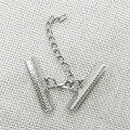 Колье ожерелье разъем кожаные шнуры обжима заглушки омар поворотный расширение металлические цепи Бархат прекращения Fastene переключить