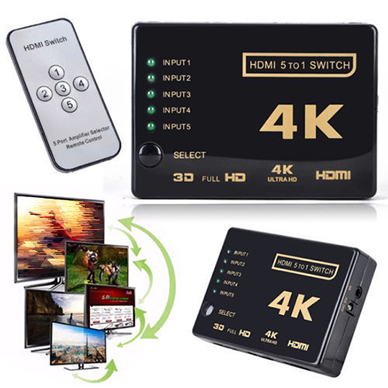 Ultra Hd 4k 2k With Remote Control Hdmi Three-in-one-out 3-in-1 Display Switcher Control Adapter Converter