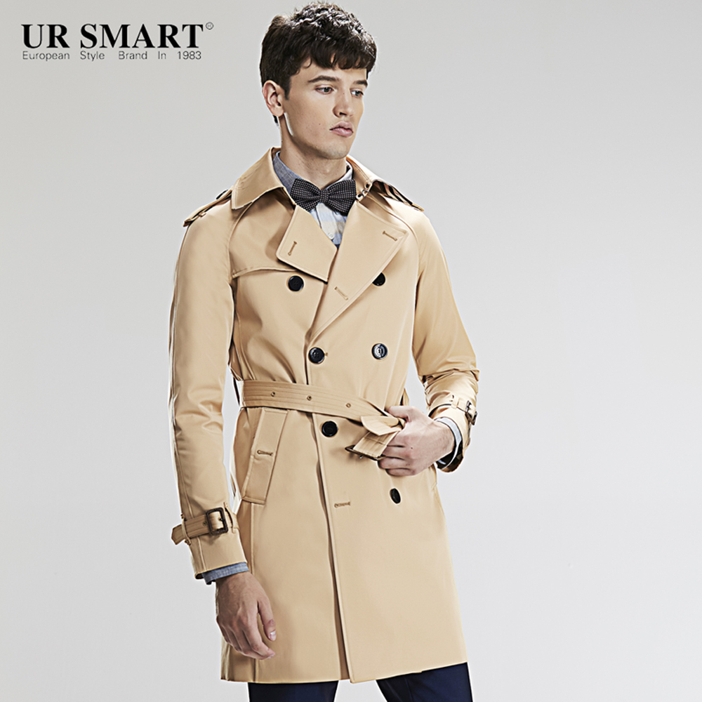 Trench Ursmart Double-breasted Trench Coat Short Male Autumn New Fashion Mens Windbreaker Honey Yellow Coat Dust Coat