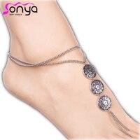 Fashion Women Ankle Bracelets Antique Silver Jewelry Antique Coin Anklets 3K3016