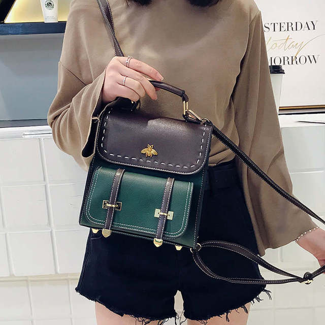 Vintage Pu Leather Women Backpack Simple Preppy Style Backpack Women Famous College Backpack Women mochilas | HOTSHOPDIRECT