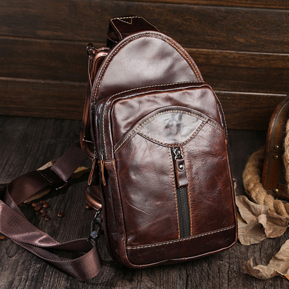 Oil Wax Genuine Leather Messenger Shoulder Cross Body Bag Travel Male Male High Quality Men Vintage Sling Chest Back Day Pack 2017 new trend fashion retro oil wax genuine leather men chest pack sling shoulder bag casual travel zipper bags vintage