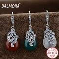 Auténtica Plata de Ley 925 Joyas de Ágata Rojo Corindón Ópalo Pendientes de Gota Elegantes para la Mujer Amante Regalos de la Fiesta Bijoux MN30217