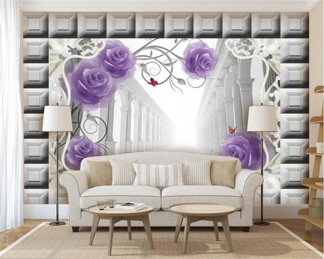 Beibehang Custom Tapete Wohnzimmer Schlafzimmer Wandbild Malerei Lila Rose  Ziegel Wand Römischen Spalte 3D TV Hintergrund