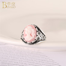 BOAKO Virgin Mary Catholic Round Rings for Women Personality Punk Ring Vintage Portrait Pink Stone Kids Religious Jewelry