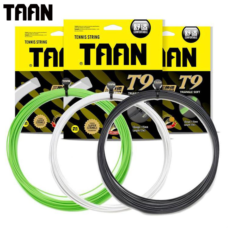 1PC TAAN T9 Tennis Racket String Soft Poly Triangle Tennis Training Control String 1.15mm 12m Synthetic Soft  Tennis String