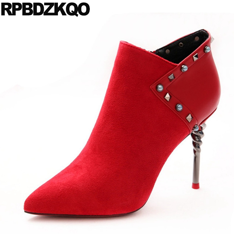 Shoes Booties Metal Suede Stiletto 2017 Autumn Side Zip Boots Pointed Toe Red Rivet Short Fetish Fashion Ankle High Heel Female 2017 fashion new red horsehair women ankle boots square high heel short booties autumn zip up martin botines mujer women pumps