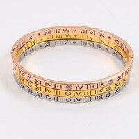 Indio brazaletes de oro para las mujeres amor pulseras con piedra Roma brazalete de acero inoxidable moda pulsera nuevo caliente