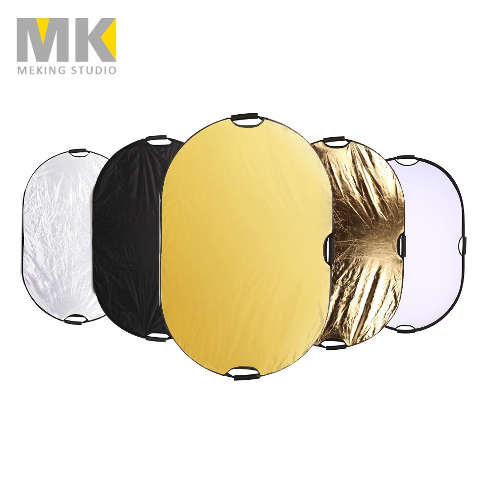 AiKuJia Lighting Reflector 5-in-1 Reflector Portable Large Light Reflector Folding Photography Oval with Carrying Bag Outdoor Camera Video Light Studio Equipment 120x180cm Photography