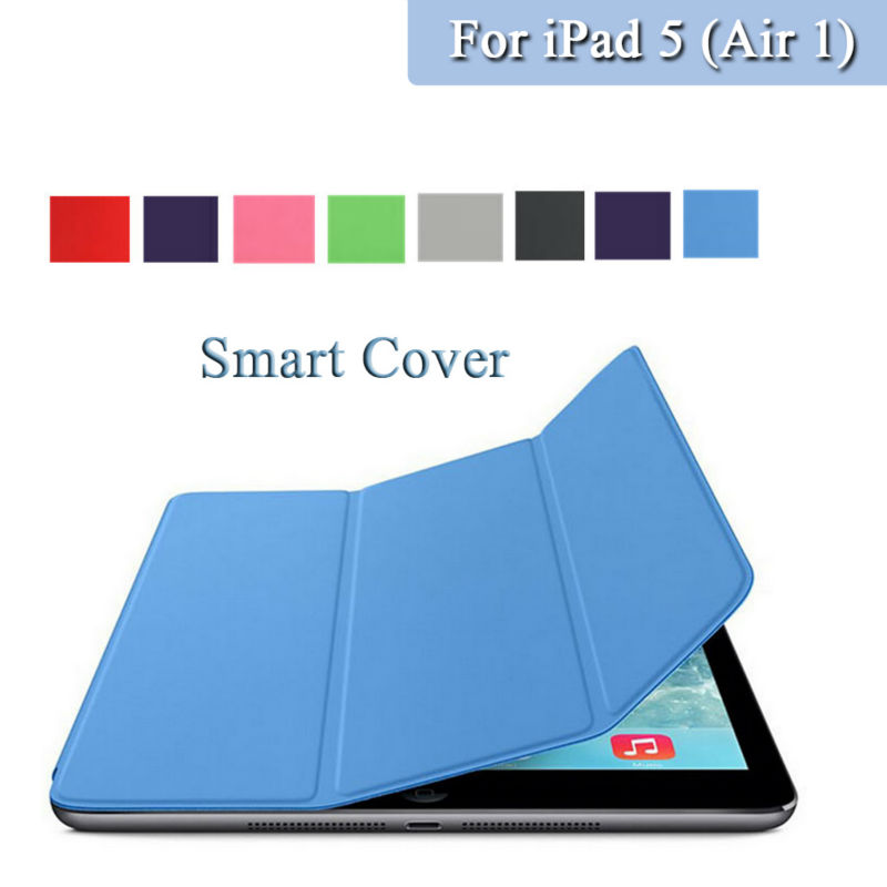 PU Leather Auto Sleep up / Wake up strong magnetic with PLastic Hard back cover case For iPad 5 Air 1