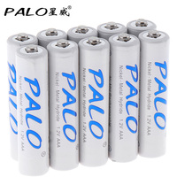 10pcs! PALO 1100mAh 1.2V AAA Battery Ni-MH NiMH Rechargeable Battery with Low Discharge for Wireless Mouse Toy Camera