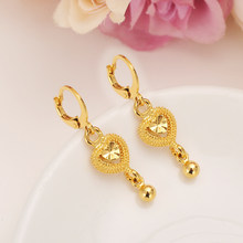 2 pairs Gold Heart beads Earrings Women/Girl,Love Trendy rhinestone Jewelry for African/Arab/Middle Easterncrystal best gift(China)