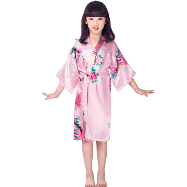 95f73cd97b 2-14Y Girls kimono robes bridesmaid peacock robe+belt summer flower girls gown  silk bathrobes fashion kids sleepwear wholesale