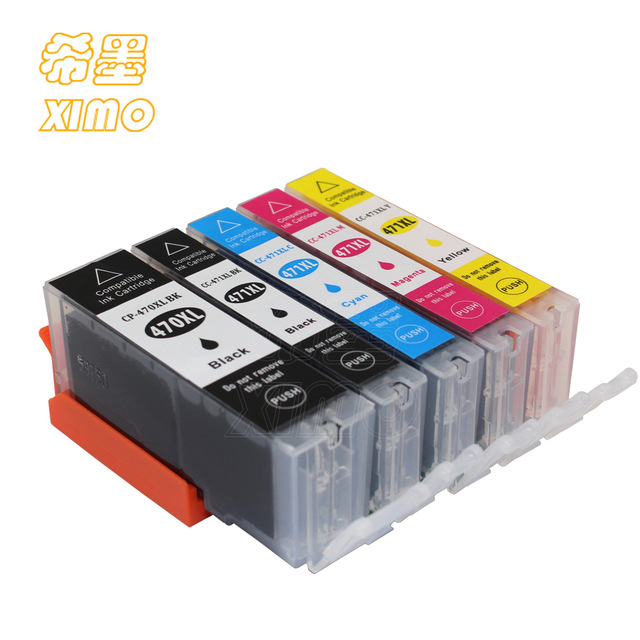 XIMO 5 PACK  470 471 PGI-470 PGBK CLI-471 Compatible Ink Cartridge Full Ink For Canon PIXMA MG6840 MG5740 TS5040 TS6040 Printer
