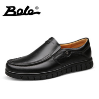 BOLE New Men Leather Shoes Casual 2017 Fashion Walking Genuine Leather Shoes Men Design Superstar Comfort