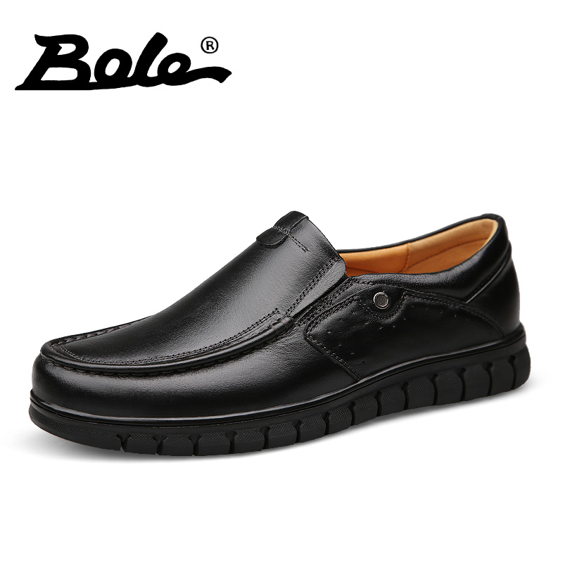 BOLE New Men Leather Shoes Casual 2017 Fashion Designer Genuine Leather Shoes Men Driving Shoes Comfort Loafers Flats Men Shoes bole new handmade genuine leather men shoes designer slip on fashion men driving loafers men flats casual shoes large size 37 47