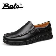 BOLE New Men Leather Shoes Casual 2017 Fashion Designer Genuine Leather Shoes Men Driving Shoes Comfort Loafers Flats Men Shoes