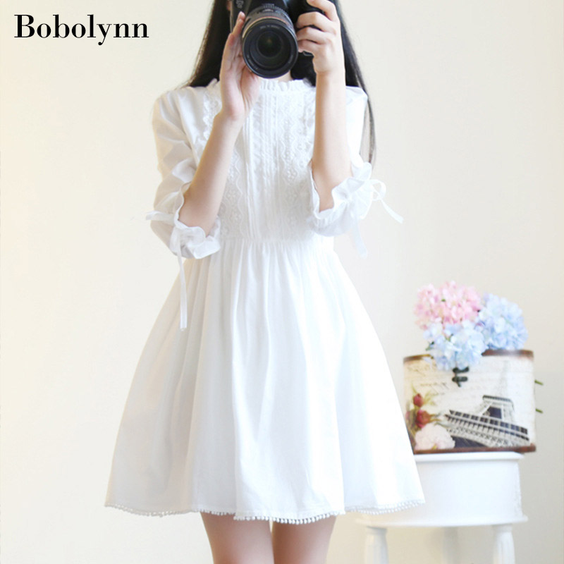 Korean Streetwear Off White Long Sleeve Dress Elegant and Magnificent and Women