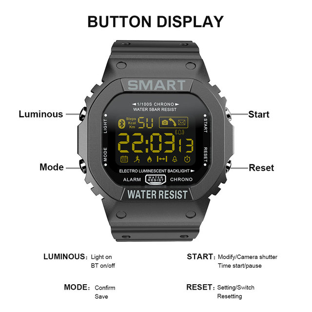 LOKMAT Bluetooth Smart watch men Sport pedometer Waterproof Call Reminder clock digital SmartWatch For ios Android Phone