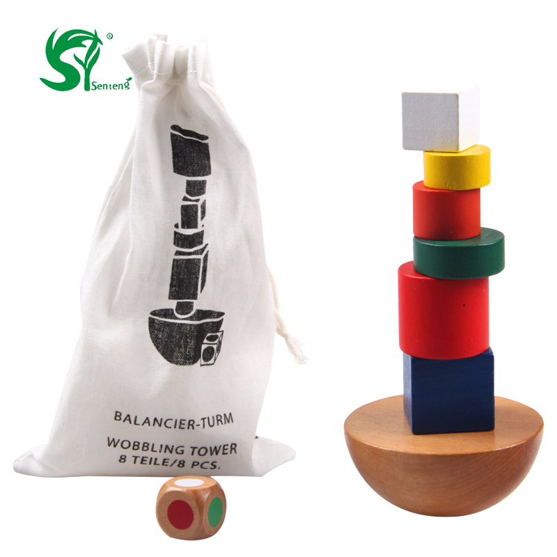 wooden toys for children Geometric building blocks Balancing Game Kids Toys Canvas Bag Montessori  Educational Family Game pizza balance game pile up balancing desktop toy pretend play food small family plastic building blocks toys for children