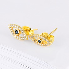 Dainty Crystal Studs Blue Evil Eye Stud Earrings – Silver, Gold