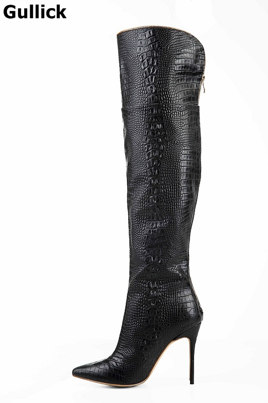 Gullick 2018 Hot Selling Women Winter over the knee Black Cobra Boots Pointed Toe High Heels party Fashion Shoes the cobra