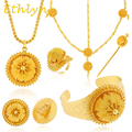 Ethlyn Big jewelry sets for Ethiopian 24k real Gold plated women jewelry hair chain/ hair stick/ pendant /bangle/earrings/rings