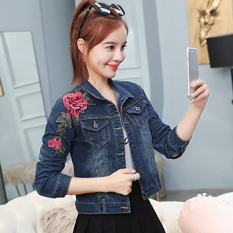 Pattern Rose Embroidery Demin Jacket Female 2019 Autumn Spring Fashion Casual Short jean Coats Women outwear cool clothes