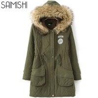 Saimishi Kış Sıcak Coat Kadınlar Uzun Parkas Moda Faux Fur Kapşonlu Bayan Palto Rahat Pamuk Yastıklı Ceket Mutil Renkler