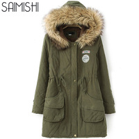Saimishi Many Colors Winter Warm Coat Women Long Parkas Fashion Faux Fur Hooded Women Overcoat 2017