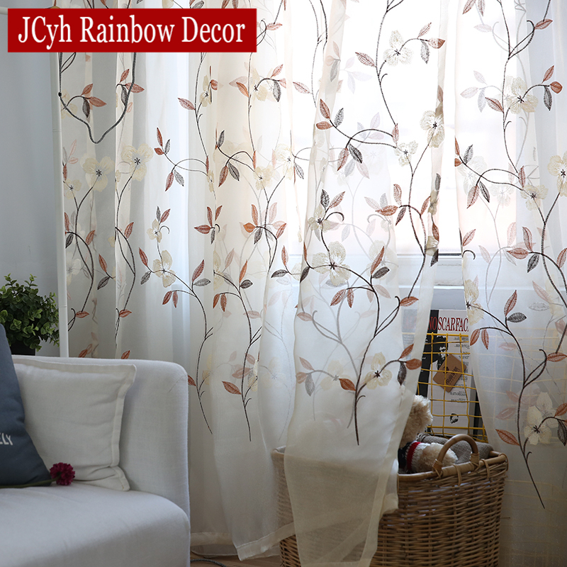 Floral Lace Tulle Curtains For Living Room Bedroom Embroidered Sheer Children Window Voile Drapes