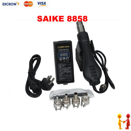 Hot selling Portable Hot Air Blower Heat Gun SAIKE 8858, soldering station SAIKE8858 220V, free shipping no tax plastic welding torch hot air gun gj hq7 700w 220v thermostat hot air blower heat gun heater soldering for car bumper heat gun