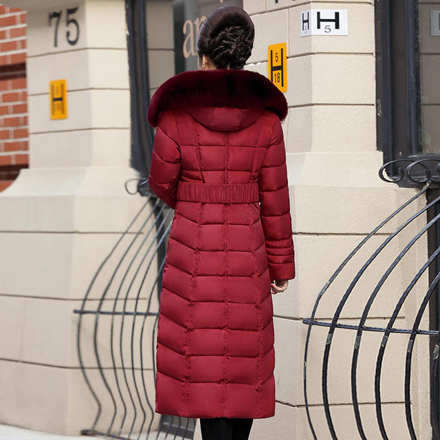 Plus Size 4XL 5XL Middle-Aged Long Winter Jacket Thicken Hooded Fur Collar Cotton Padded Jacket Female Winter Coat Women C5062 5