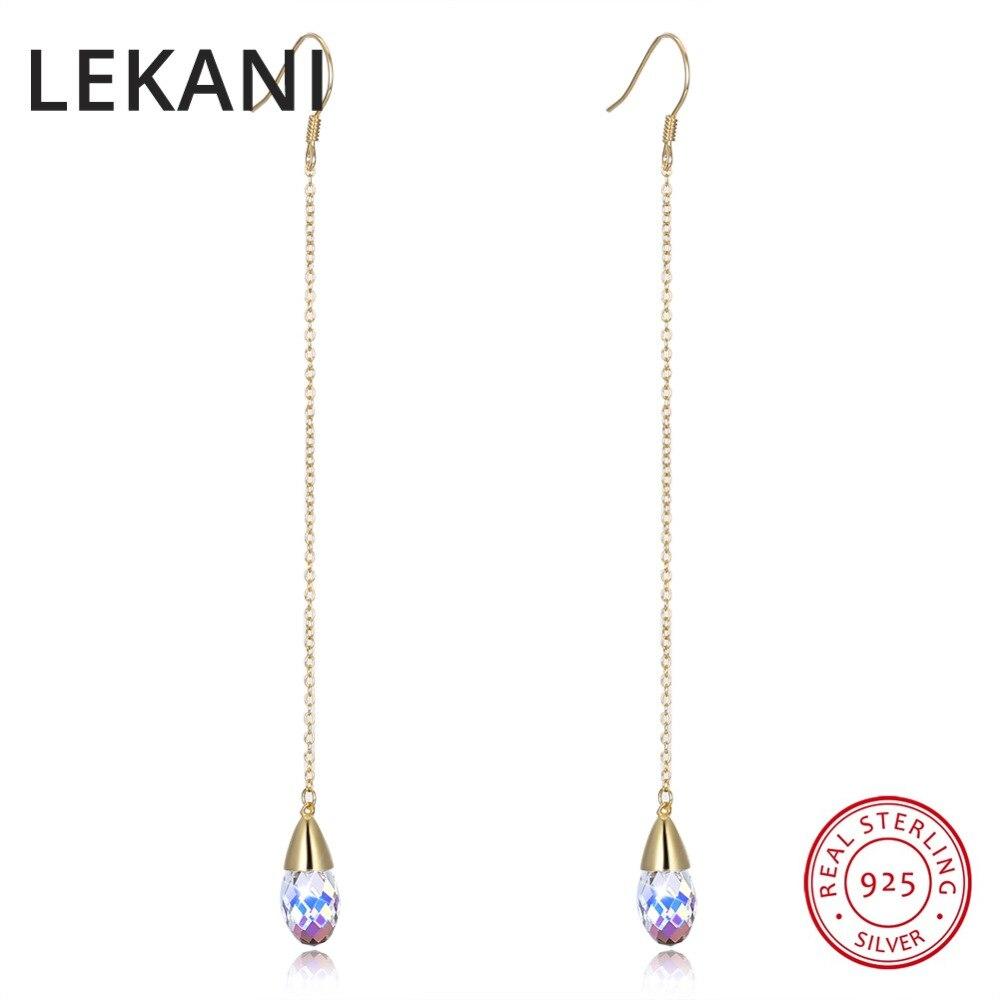 123ae966ec49 LEKANI cristales de SWAROVSKI pendientes de gota de cadena larga oro S925  plata esterlina fina joyería para las Mujeres Partido 2018 -  a.canijustsay.me
