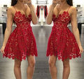 Sexy V Neck Spaghetti Strap A line Natural Waist Lace Mini Short Red Special Occasion Dresses Party Cocktail Dresses