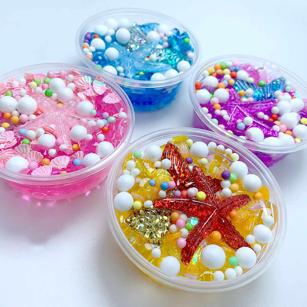 New 60ML Fluffy Mud Mermaid Tail Charms Fishbowl Mermaid Bubble Bath Slime Toy Gift Kids Lizun Toy Clay for Arts Crafts Gift E