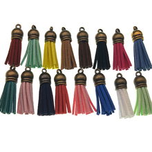 10pcs 39mm Suede Tassels Charm KeyChain Faux Suede Leather Tassel With Metal Bronze Cap for DIY Jewelry Making Materials Z1037