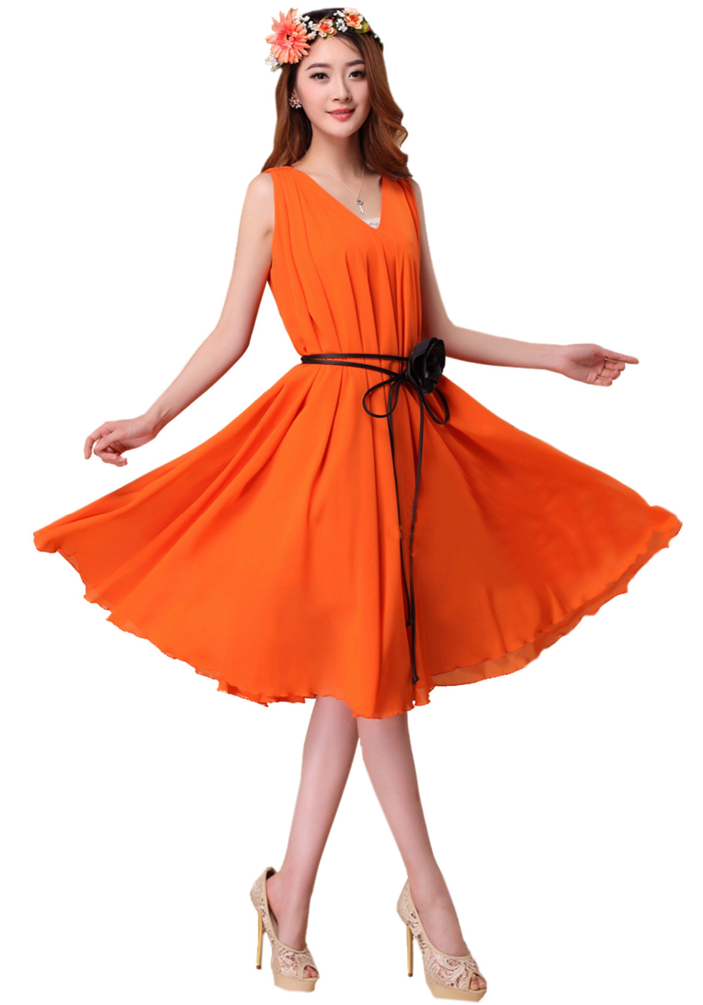 Womens Orange Double V Neck Chiffon Holiday Beach Midi Flare Dress Plus Size Bridesmaid Sundress