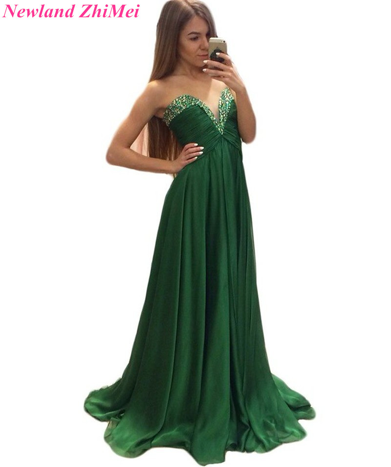 Emerald Green Empire Evening Dresses Custom Made A Line Beaded Sleeveless Prom Party Gowns vestido formatura 2018