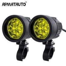 2 قطعة 12000lm led دراجة نارية المصباح الضباب DRL مصباح مع T6 رقاقة العالمي للدراجات النارية ATV لمبة عالية السطوع الأصفر الأبيض 12 فولت