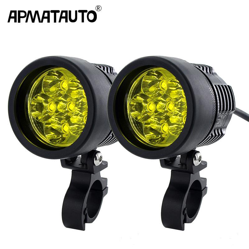 2pcs 12000lm Led Motorcycle Headlight Fog DRL Lamp With T6 Chip Universal Motorbike ATV Bulb High Brightness Yellow White 12V