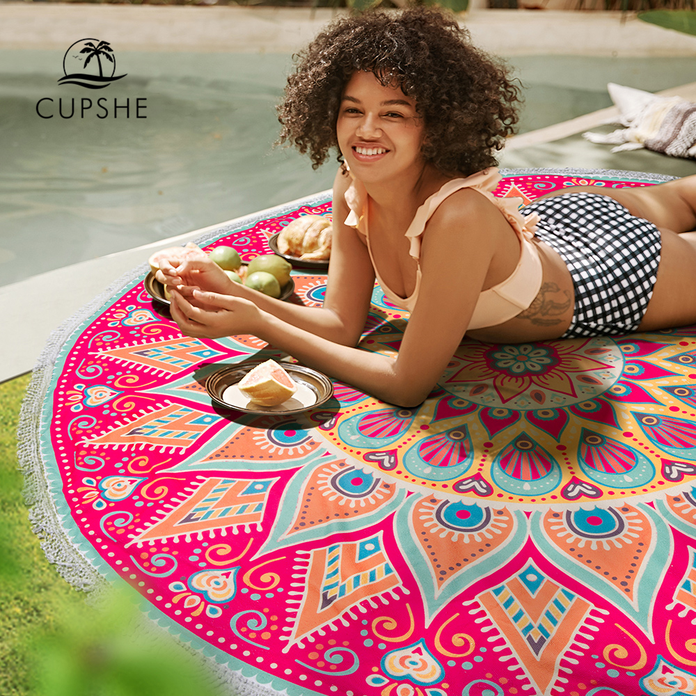 CUPSHE 2019 Women Vocation Mandala Round Beach Towel With Tassel