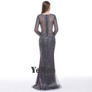 Image 3 - YEWEN argent gris formel robe de soirée 2020 Sexy col en v Noble femmes robes longues seleeves étage longueur fête robes de bal