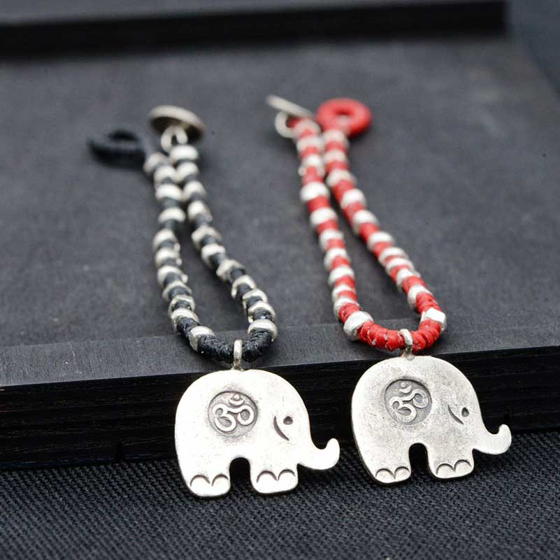 FNJ 925 Silver Bracelet Red Black String 17cm 22cm Chain Elephant Charm Thai S925 Silver Bracelets for Women Jewelry candy coloured string hand chain bracelets
